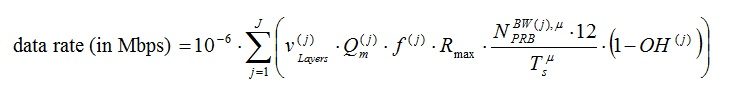 5G Throughtput formula