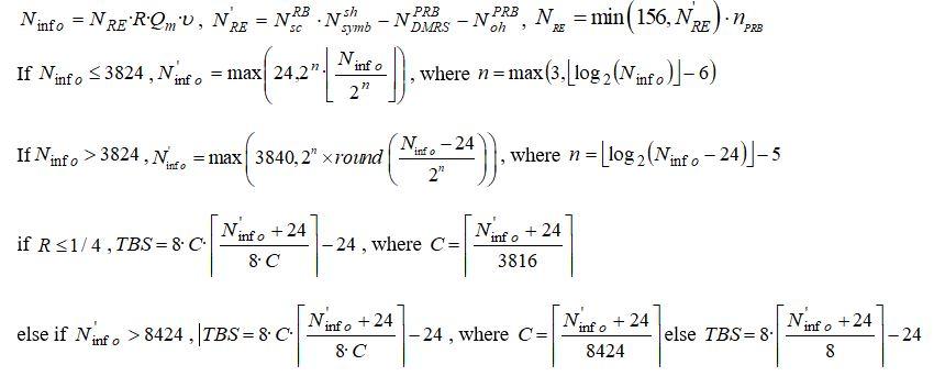 TBS Calculator 3GPP 38.214 chapter 5.1.3.2